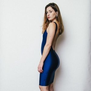 NEW American Apparel scoop back navy blue dress